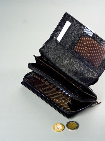 Skórzany portfel damski lakierowany czarny Lorenti 76112