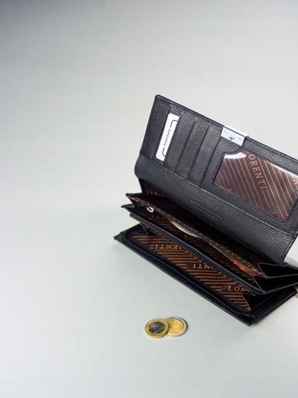 Skórzany portfel damski lakierowany z kryształkami czarny Lorenti