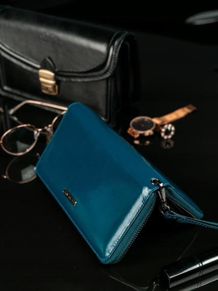 Skórzany portfel damski niebieski Lorenti 76119