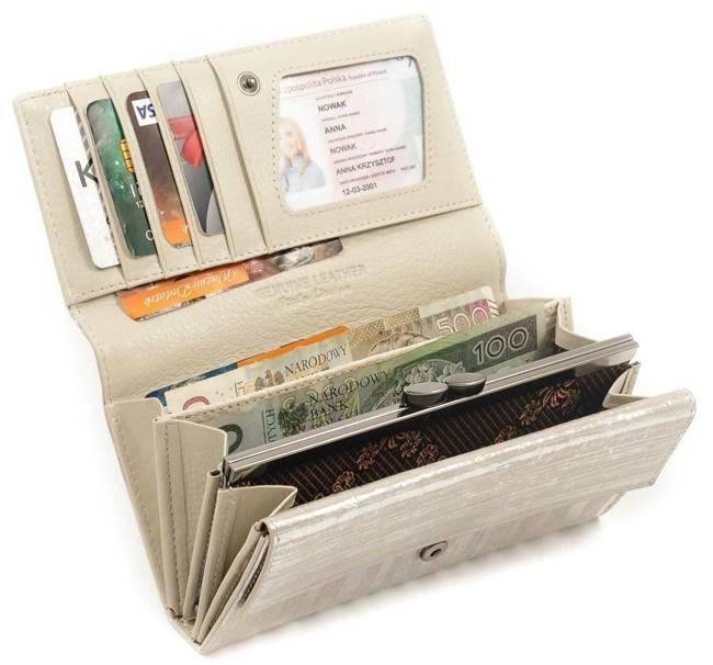 Skórzany portfel damski srebrny Forever Young 64003