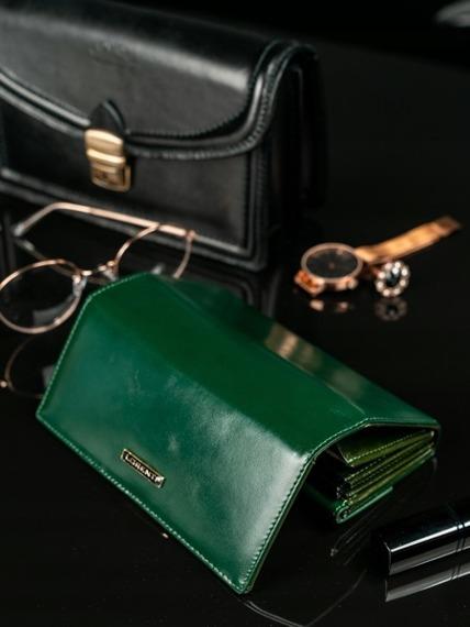 Skórzany portfel damski zielony Lorenti 64003