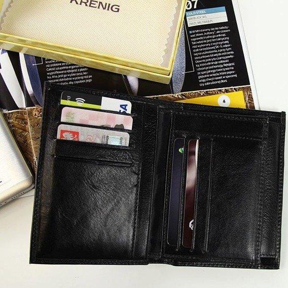 Skórzany portfel męski KRENIG Classic 12001 czarny