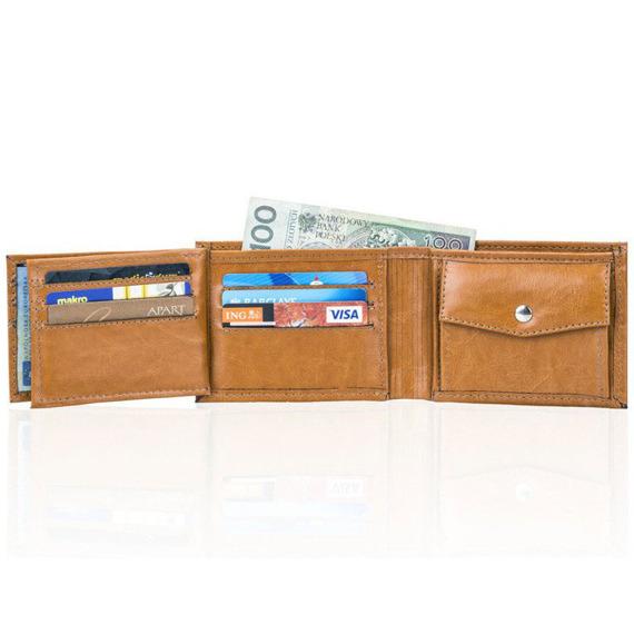 Skórzany portfel męski SOLIER SW06 jasnobrązowy