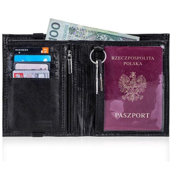 Skórzany portfel męski na paszport SOLIER SW07 czarny