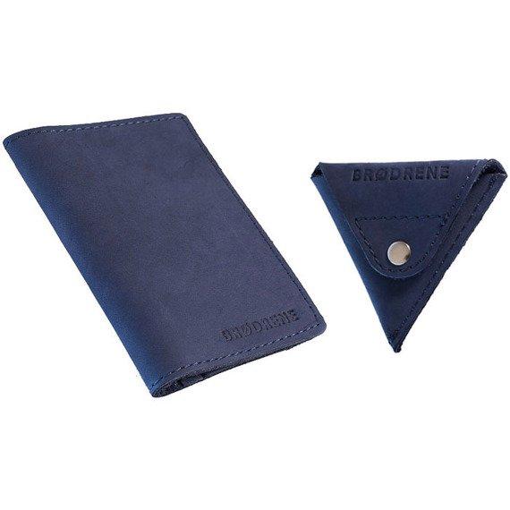 Skórzany zestaw portfel i bilonówka BRODRENE SW03 + CW01 granatowy
