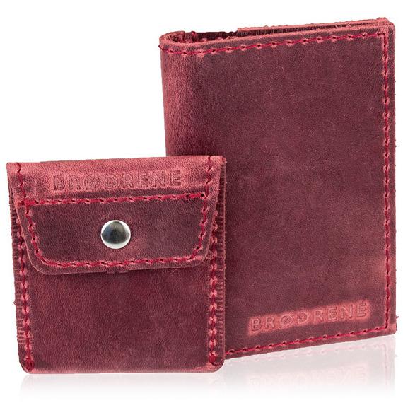 Skórzany zestaw portfel i bilonówka BRODRENE SW03 + CW02 czerwony