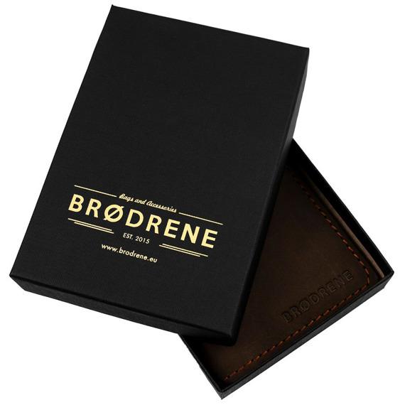 Skórzany zestaw portfel i bilonówka BRODRENE SW05 + CW02 ciemnobrązowy