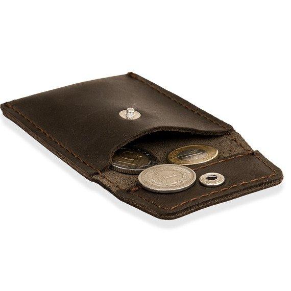 Skórzany zestaw portfel i bilonówka BRODRENE SW06 + CW02 ciemnobrązowy