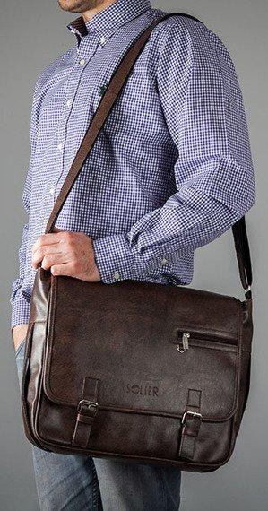 Stylowa ciemnobrązowa casual torba męska na ramię SOLIER S12