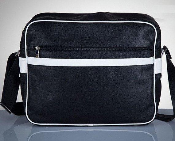 Stylowa torba męska na ramię SOLIER Messenger by Solier MS01 czarno - biała