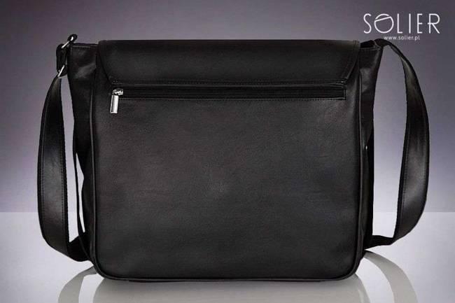 Stylowa torba męska na ramię SOLIER S12 czarna z połyskiem