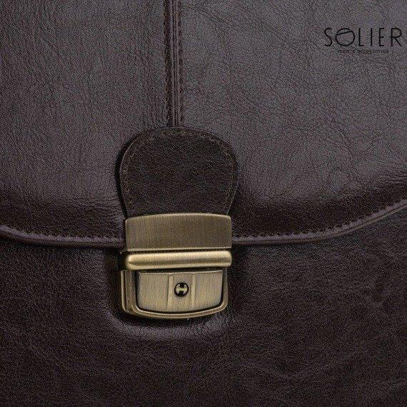 Teczka aktówka męska biznesowa SOLIER S22 ciemnobrązowa