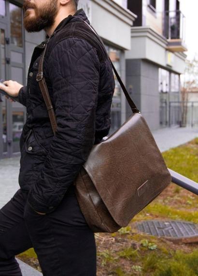 Torba męska na ramię listonoszka Solier S11 brązowa vintage