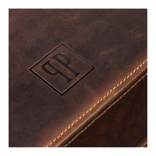 Torba skórzana na laptopa brązowa Paolo Peruzzi T-06
