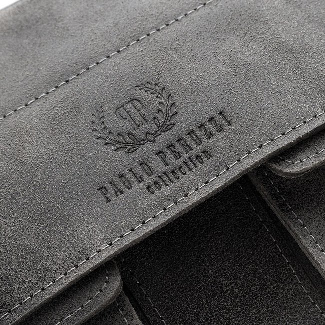 Torba teczka skórzana męska vintage Paolo Peruzzi 045-GR szara