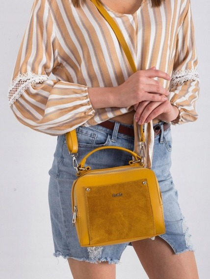 Torebka damska kuferek skórzany Rovicky TWR-78 żółta
