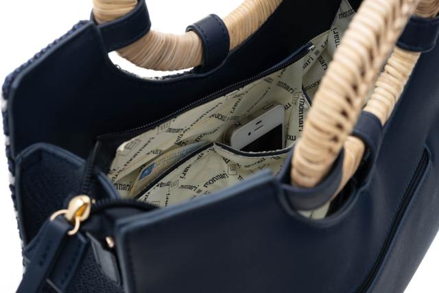 Torebka damska shopper w paski Monnari 3020 granat