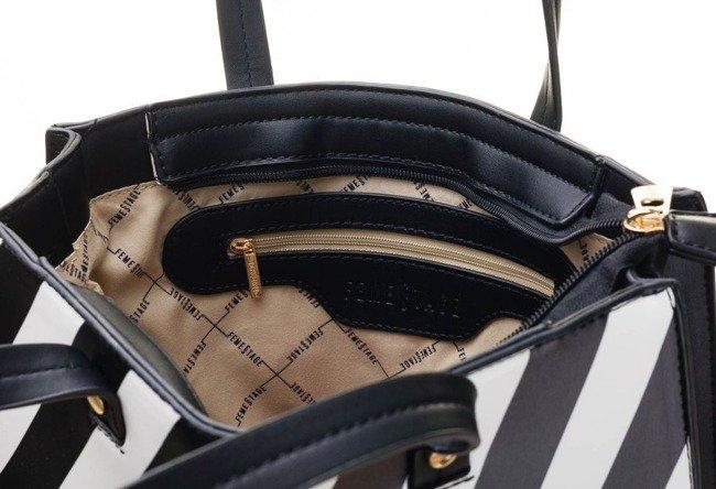 Torebka damska w paski shopperka FemeStage 64732 czarna
