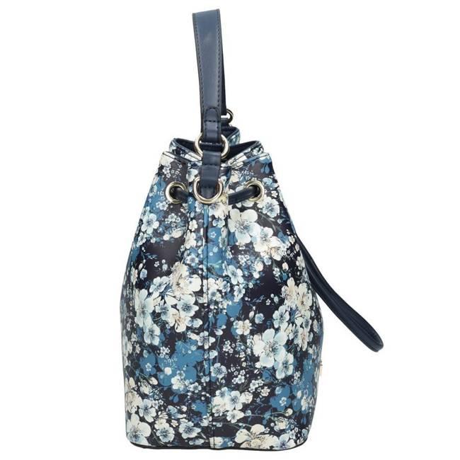 Torebka damska worek w kwiaty NOBO granatowa