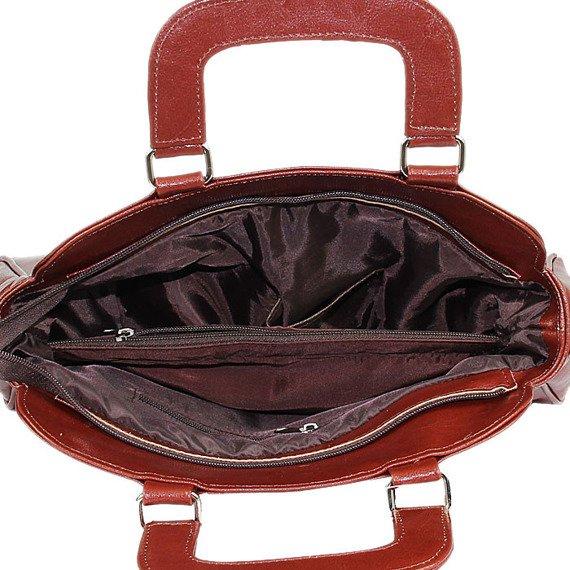 Torebka skórzana damska kuferek DAN-A T25 koniakowa