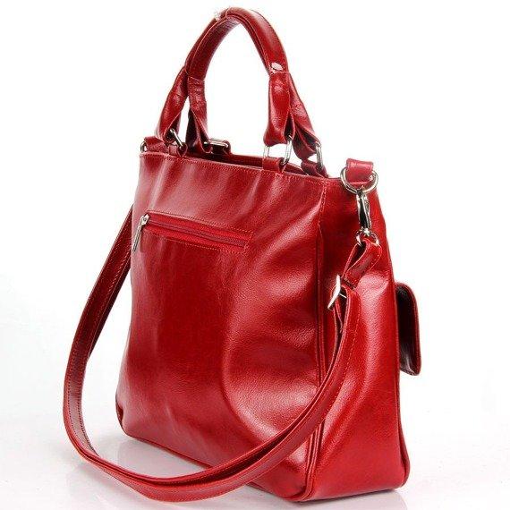 Torebka skórzana damska kuferek DAN-A T88 czerwona