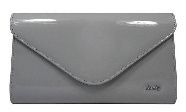 Wieczorowa kopertówka szara Rovicky W25 LAKIER 59