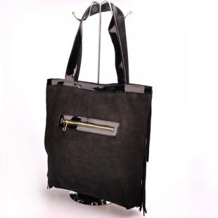 Włoska torebka skórzana z frędzlami czarna MADE IN ITALY Spalla 227